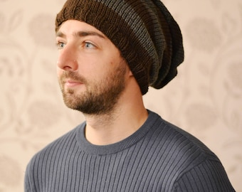 Slouchy Hat, Fall Hat, Mens Slouch Hat, Oversized Hat, Knit Hat, Womens Slouch Hat, Knitted Slouchy Beanie, Brown and Gray,Tam, Skater Hat