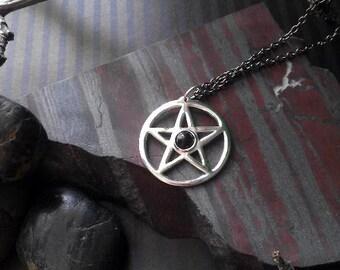 Sterling silver pentagram pendant ( P006 )