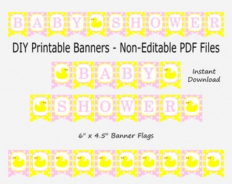 Baby Shower Banner with Ducks - Baby Pink & Primary Yellow - Polka Dot Pattern - Girl - Bunting Decor - PRINTABLE - INSTANT DOWNLOAD