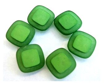 10 Vintage plastic buttons square shape beautiful green shades 15mm