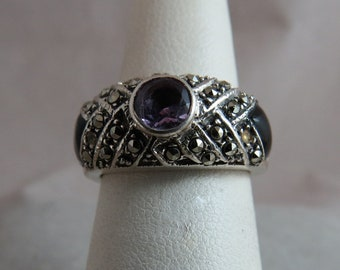 Vintage Amethyst Black Onyx and Marcasite Sterling Silver Ring