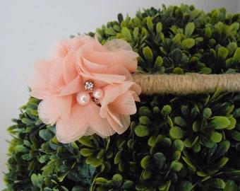 Peach Chiffon Wedding Guest Book Pen / Wedding Flower Pen /  Peach Floral Pen / Rustic Wedding Pen / Shabby Wedding Pen / Decorative Pen /