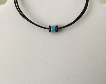 Black and Turquoise Czech Bead Leather Choker