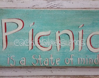 Hand Painted One only Picnic sign Original Acrylics on Rustic Pine