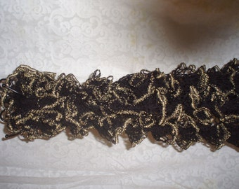 Gold edged ruffled scarf