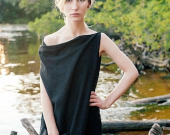 Linen dress Asteya, Black maxi dress, dress-meditation, long dress, yoga dress, boho dress