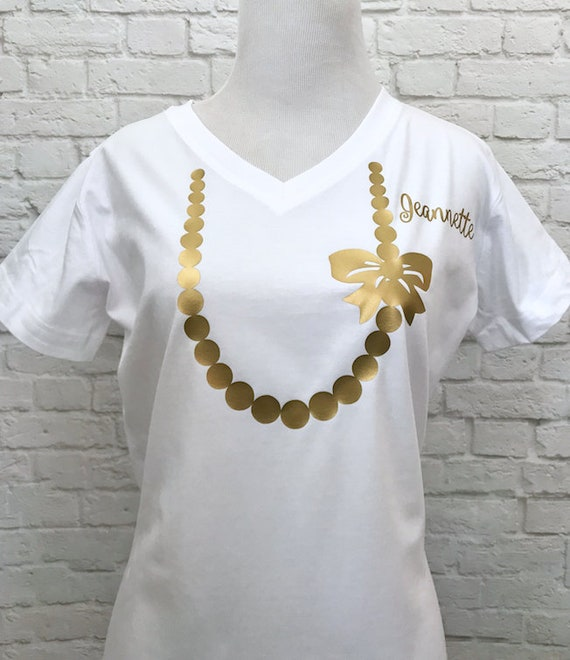Bride's V-Neck T-shirt White Printed in Gold Metallic on White V-Neck t-shirt