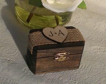 rustic wedding ring box, burlap wedding wooden ring box for 2 rings