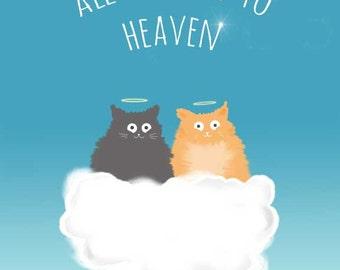 Cat Art Drawing Print Illustration Cute Cat Orange Cat Grey Cat Pet Loss Gifts Pet Portrait Print - All Cats go to Heaven