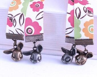 Ribbon Bookmark -  Shy Bunnies, Bright Flowers, Hot Pink, Lime Green, Brass or Gunmetal Charms, Custom Length