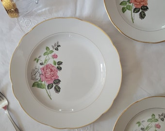 """RESERVE IRENE - flat round """"Adelie"""", flowers, roses, pink gray, Sarreguemines Digoin, earthenware, plates, vintage, old"""