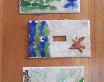 Decorative Light Switch Plates Covers- Coastal Decor- Hand Made- Beach House Decor- sea glass mosaics- single switch