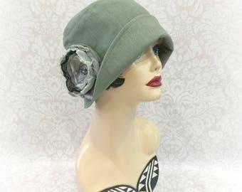 Linen Hat - Linen Cloche - Bridal Cloche - Womens 1920s Cloche - Summer Flappers - Downton Abbey Cloche - Summer Weddings - Handmade in USA