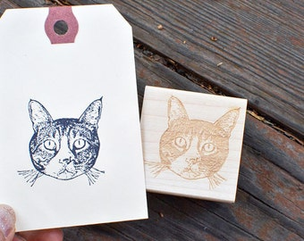 Custom Pet Portrait Rubber Stamp - Cat Portrait Stamp - Customized - Personalized - Gift Idea