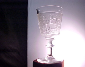 Vintage Westward Ho Frosted Glass Goblet, Mid Century LG Wright Reproduction Stemware, 1960s Embossed Early American Wildnerness Scenes
