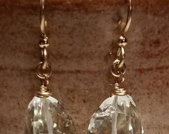 Handmade Earrings - Faceted Green Amethyst - 14K Gold-Filled Earwires