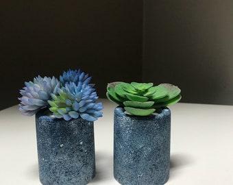Denim finished succulent planters