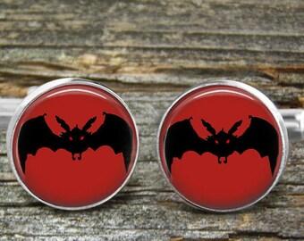 Halloween Bat Cufflinks Black Red Eyes-Free Shipping-Wedding--Cufflink Box-Jewelry Box-Silver-Keepsake-Gift-Man gift-Holiday cufflinks