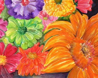 original watercolor painting, Colorful zinnias, sunflowers and flowers 8 x 10 Vivid floral wall art