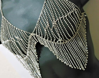 Crystal Silver Chain Fringe Bra body fringe Top