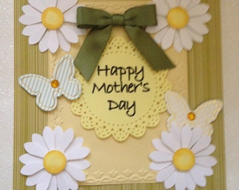 Mother's Day Card/Handmade/3D/Embossed/White & Yellow Shasta Daisies/Butterflies/Bow/Sentiment