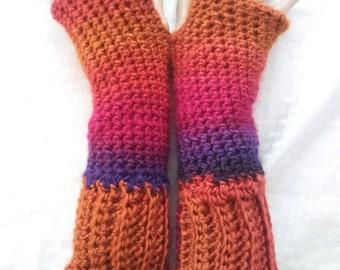 Crochet Fingerless Madeleine Gloves: Volcano