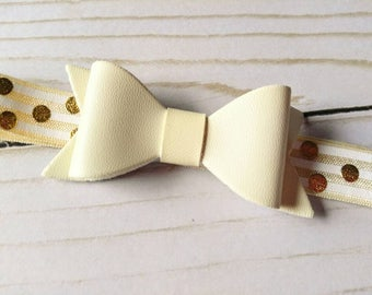 Cream and Gold bow Headband | Leather Bow | Gold Polka Dot | Baby Girl Headband | Baptism Accessory | Spring Hair Bow | baby shower gift