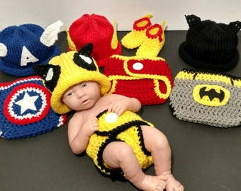 81d2635f3d0993 Superhero Baby Captain America Baby Outfit Newborn Wolverine Costume Photo  Prop Superhero Baby Crochet Outfit - Full Set Same Price!!! Sc 1 St Etsy