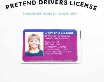 Kids Pretend Car - Driver's License - Auto - Kids Pretend License - Kids ID - Kid License - Purple - Unique Gift - Kids Birthday Gift