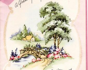 VIntage Wedding Anniversary Unused Card Pretty Pink Shabby Chic Greeting 1950's Unused
