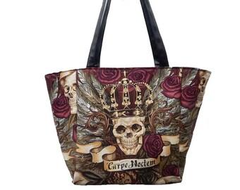 "USA Handmade Travel Bag Shoulder Bag Style With ""Vintage Skulls Duggery"" Pattern HandBag Purse, Cotton, new"