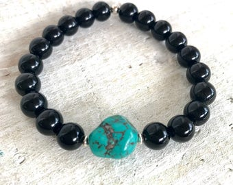 Arizona Turquoise & Rainbow Obsidian Bracelet - PROTECTION - Gemstone ZEN Jewelry - Positive Energy Jewelry
