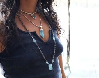 One of a Kind Labradorite, Raw Aquamarine, Kyanite + Topaz Mala Necklace with Thai Hill Tribe Silver Beads - Raw Aquamarine Pieces + Pendant