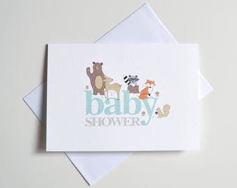 Greeting Card - Baby Shower Forest Animals