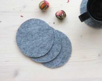 Grey coasters, Felt coasters, Felted coasters, Gray felt coasters, Coaster set, Reusable coasters, Drink coasters, Bar coasters