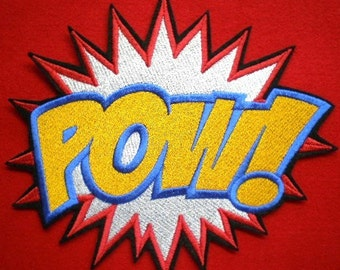 EXTRA LARGE Embroidered  POW  Super Hero Cartoon Applique Patch, Iron On Patch, pow