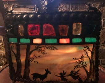 Victorian Woodland Fairy Stained Glass Painted Luminaire Candle Holder w Curved Glass