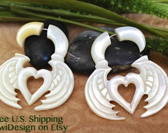 "Fake Gauge Earrings, ""Wings & Hearts"" Mother Of Pearl, Hand Carved, Naturally Organic, Tribal"