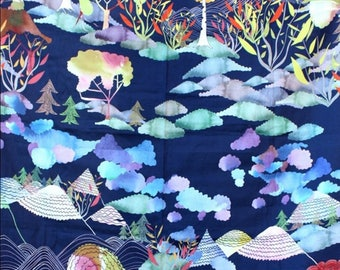 Fabric, coupon, clouds, trees, mountains, småland, Japanese style