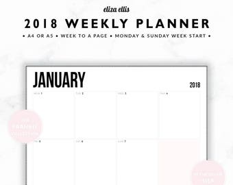 2018 WEEKLY PLANNER / A4 Weekly Planner / A5 Weekly Planner / Landscape Planner / Printable Planner / The Frankie Planners in Silk / 407