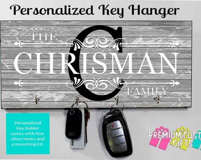 Personalized Key Holder - Wall Key Rack - Housewarming Gift - Personalized Gift - Wedding Gift - Anniversary Gift - Personalized Key Hanger