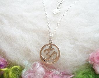 Om Necklace Silver Aum Pendant Om Symbol Silver Charm Small Chain Zen Meditation Spiritual Hindu Buddhist Simple Jewelry Yoga Necklace