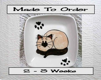 Siamese / Himalayan Square Cat Dish with Paw Prints Earthenware Clay Kiln Fired