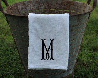 Farmhouse Monogrammed Flour Sack Tea Towel Kitchen Towel, Personalized Kitchen towel, Tea Towel, Flour Sack Towel  Fishtail Monogram