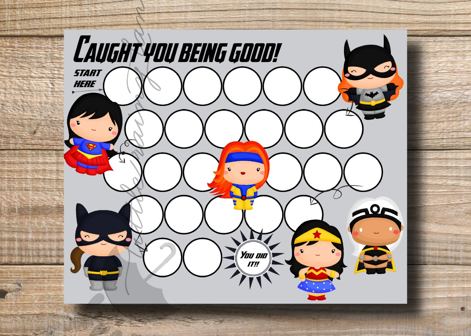 Kids Reward Chart Girl Super Hero Printable