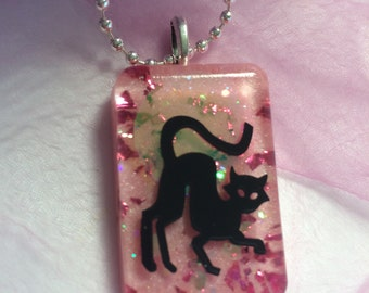 Halloween Black Cat Confetti Lucite Necklace