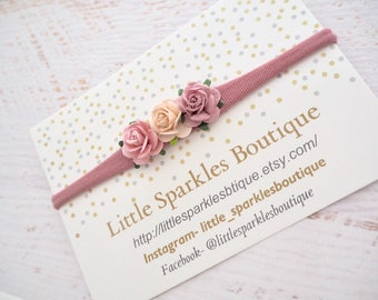 Pink hair bow, peach hair bow, flower headband, baby headband, baby bow, wedding hair, girls hair accessories