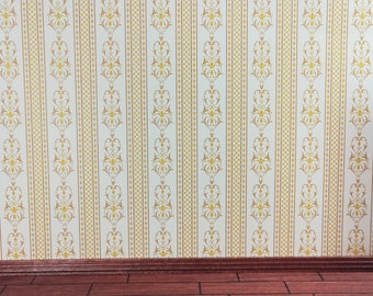 "Dollhouse Miniature Brodnax Wallpaper Gold White Cream ""Palais"" 1:12 Scale"