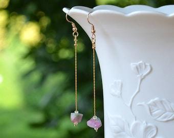 Raw Stone Earrings, Watermelon Tourmaline earrings, Raw crystal Earrings, Rough Stone Earrings, long dangle Earrings, Simple gemstone