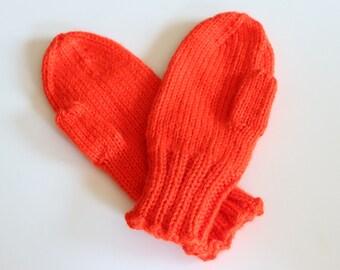 Orange Mittens for Kids - Orange Knit Mittens - Orange Red Mittens - Kids Mittens in Orange - Kids Winter Mittens - Bright Orange